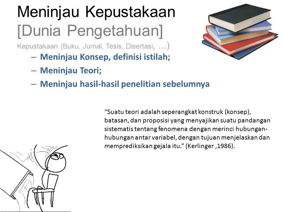 Meninjau Kepustakaan [Dunia Pengetahuan] Kepustakaan (Buku, Jurnal, Tesis, Disertasi, ...)